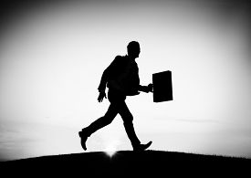 stock photo of running-late  - Business man Running Commuter Late Hurry Concept - JPG