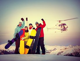 picture of snowboarding  - Snowboarders Success Sport Friendship Snowboarding Concept - JPG