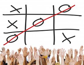 stock photo of tic  - Tic Tac Toe Game Competition XO Win Concept - JPG