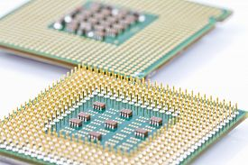 foto of outdated  - computer processor chipset is outdated copper contacts up - JPG