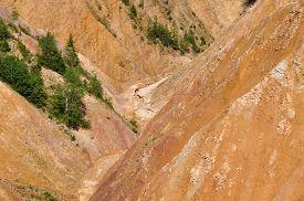 stock photo of ravines  - Ravine with erosion landscape - JPG