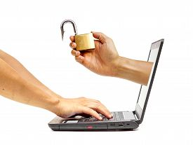 stock photo of spyware  - a fish hook pretending to be a security lock  - JPG