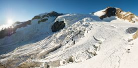 pic of rosa  - Panorama of mountain glacier at sunset - JPG