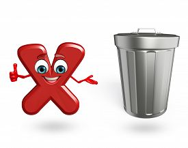 foto of dustbin  - 3d rendered illustration of alphabet X Cartoon Character with dustbin - JPG