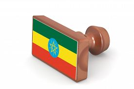 picture of ethiopia  - Wooden stamp with Ethiopia flag image with hi - JPG