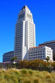 foto of city hall  - Los Angeles City Hall building completed in 1928 taken in Los Angeles, CA