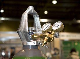 image of manometer  - Welding equipment acetylene gas cylinder tank with gauge regulators manometers - JPG