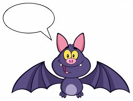 pic of vampire bat  - Happy Vampire Bat Cartoon Character Flying With Speech Bubble - JPG