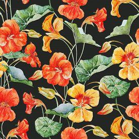 foto of nasturtium  - Beautiful raster pattern with nice watercolor nasturtium flowers - JPG