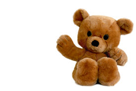 stock photo of stuffed animals  - a large brown teddy bear isolated on white - JPG