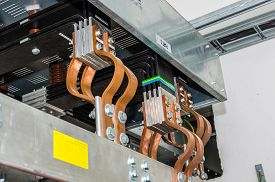 image of transformer  - Closeup view on transformer on the site - JPG