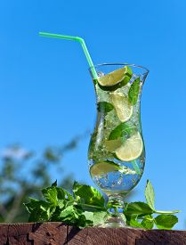 stock photo of peppermint  - cocktail with lime ice and peppermint leaves - JPG