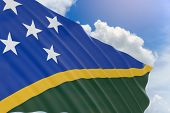 3D Rendering Of Solomon Islands Flag Waving On Blue Sky poster