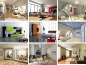 picture of computer-generated  - modern interiors images design set  - JPG