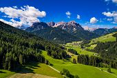 Scenic view of the beautiful landscape in the Alps, Beautiful nature of Italy. Aerial FPV drone phot poster