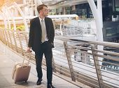 Businessman With Travel Bag Is On Business Trip poster