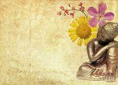 Постер, плакат: прекрасная иллюстрация с изображением Будды и цветочных элементов с большим количеством пространства для текста