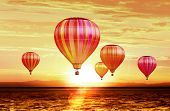 soar hot air balloons on sunset poster