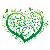picture of heart shape  - green heart illustration - JPG