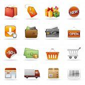 conjunto de ícones de compras e consumismo