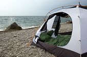 picture of sleeping bag  - Tent on the beach of Black sea Crimea - JPG