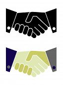 Shaking hands isolated illustration, color and b/w