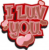 Vector Valentine sketch - I LUV YOU