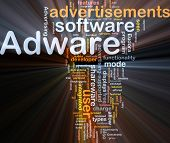 Background concept wordcloud illustration of adware glowing light