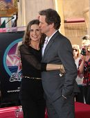 HOLLYWOOD - JAN 13:  Colin Firth & wife Livia, actor Colin Firth receives star on walk of fame  on January 13, 2011 in Hollywood, CA