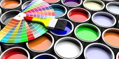 Colors Catalogue And Paint Brush On Paint Cans Background. 3D Illustration poster