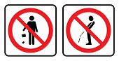 Don`t Throw Garbage Icon And No Pee Outside Icon. No Garbage Sign And No Pee Outside Icon Drawing By poster