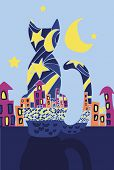 Black Cat At Night. Abstract Silhouette Of A Cat And Night City. The Mysterious Soul Of A Cat. All C poster
