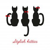 Set Of Three Black Cats. Cats That Sit Back. Cute Kittens With Red Bows. Postcard With Three Cats poster