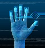 stock photo of computer technology  - scanning of a finger on a touch screen interface - JPG