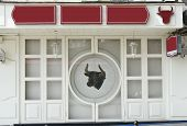 Butcher Shop Or Restaurant . Empty Signboard. Blank Billboard.Mockup And Template Signboard. Blank  poster