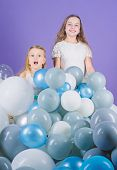 Just Live It Out To The Fullest And Have Fun. Happy Sisters Enjoy Birthday Celebration. Little Girls poster