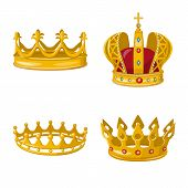 Isolated Object Of Monarchy And Gold Symbol. Collection Of Monarchy And Heraldic Stock Symbol For We poster
