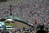 Crowds of Hungarian pilgrims gather to celebrate the Pentecost
