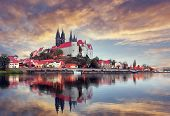 Unsurpassed Colorful Sunset. Wonderful View Albrechtsburg Castle And Cathedral On The River Elbe In  poster