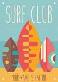 Surfing Poster. Surfboards On The Beach. Vector Illustration. Retro Design. Placard For Surfing Club poster