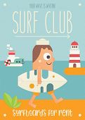 Surfing Poster. Cartoon Surfer With Surfboard Walking Along Beach. Lighthouse And Steamship. Vector  poster