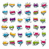 Comic Text Wow, Boom, Bang Collection Sound Effects Pop Art Style. Set Vector Speech Bubble With Wor poster