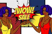 Vintage Black Pop Art Girl Shopping. Halftone Pattern Comic Book Backdrop. Wow Smiling Face Pop Art  poster