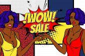 Vintage Black Pop Art Girl Shopping. Halftone Pattern Comic Book Backdrop. Wow Smiling Face Pop Art  poster