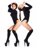 stock photo of stripper shoes  - Beautiful slender brunette in a black leotard - JPG