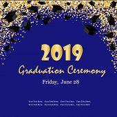 Graduation Ceremony Banner With Graduate Caps, Glitter Dots On A Dark Blue Background. Congratulatio poster