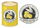 Label For Green Olives Decorated By Olive Twig With Berries And Ribbon In Retro Style On The Black B poster