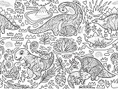 Ink Seamless Pattern With Mom And Baby Dinosaurs And Tropical Plants. Vector Illustration poster