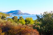 Vacation Banner Panoramic Background With Sea Water And Coastline Aerial View In Sithonia, Greece poster