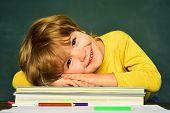Great Study Achievement. Funny Little Boy Pointing Up On Blackboard. Happy School Kids. School Kids. poster